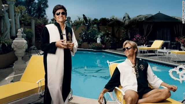 "Michael Douglas stars as Liberace and Matt Damon stars as Scott Thorson in ""Behind the Candelabra."""
