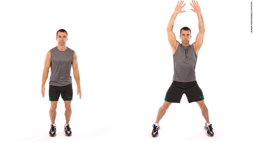 Trainer Chris Jordan has designed a high-intensity circuit training program to help his clients lose weight and get fit. Instructions: Do as many reps of each move as you can in 30 seconds, resting 10 seconds in between. Repeat the circuit two to three times. First up, jumping jacks.