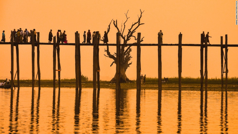 The U Bein Bridge, Amarapura, Myanmar.