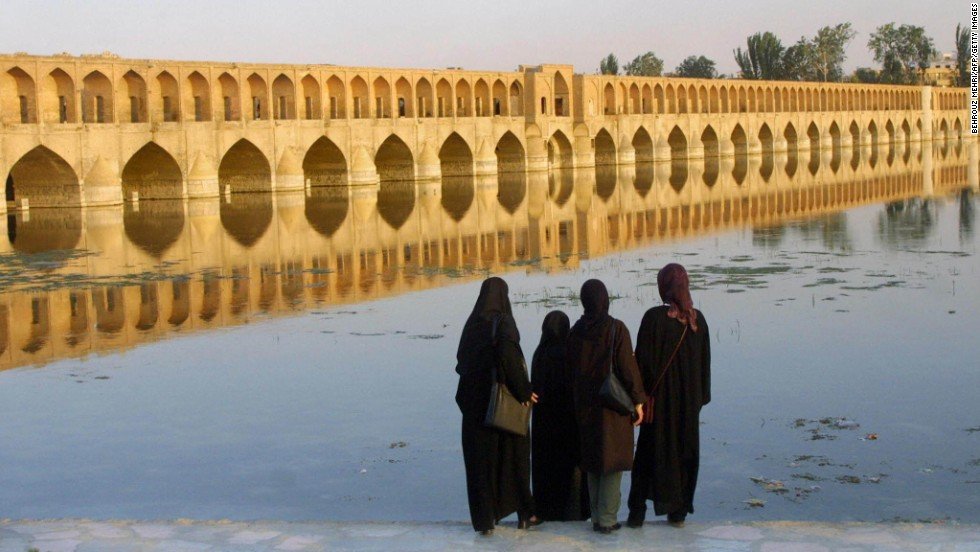 "Si-o-Se Pol Bridge, translated to ""33 Arches Bridge,"" Isfahan, Iran."