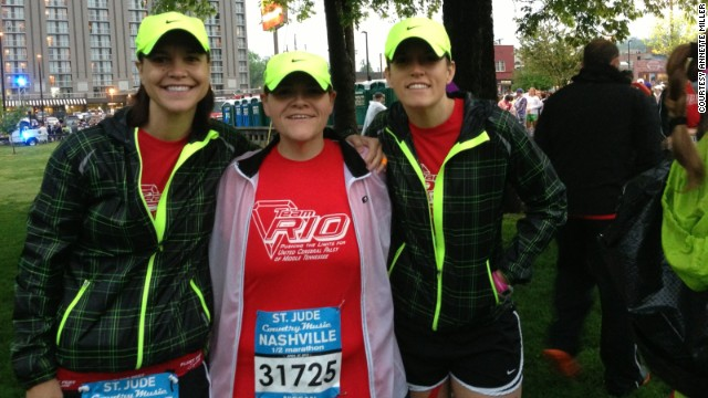 Anje, from left, Annette and Darbi pose for a photo before the half marathon.