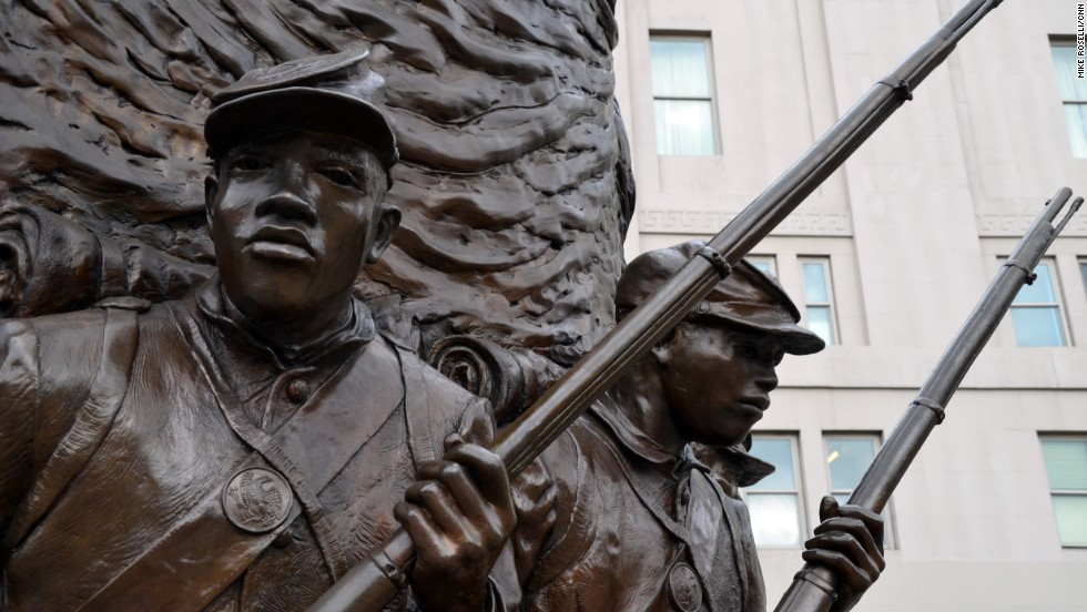 The city's war memorials include one for the Civil War and the Africans American soldiers who fought in it.