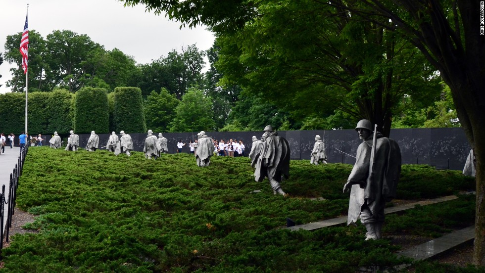 The statues at the Korean War Veterans Memorial represent a squad on patrol.