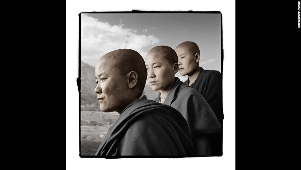 <strong>Kalsang, 25; Ngawang, 22; Dechen, 21 (Dolma Ling Nunnery, India)</strong><br />When photographed, these nuns had just arrived at Dolma Ling after fleeing Tibet. In 1992, they were arrested, beaten, shocked with electric cattle prods and imprisoned for placing posters that protested the Chinese occupation of Tibet, Borges said. Several times during their conversation, Dechen broke into tears and quietly excused herself before continuing her story.