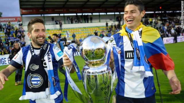 Joao Moutinho (left) and James Rodriguez hold the Portuguese league title after Porto's 2013 triumph.
