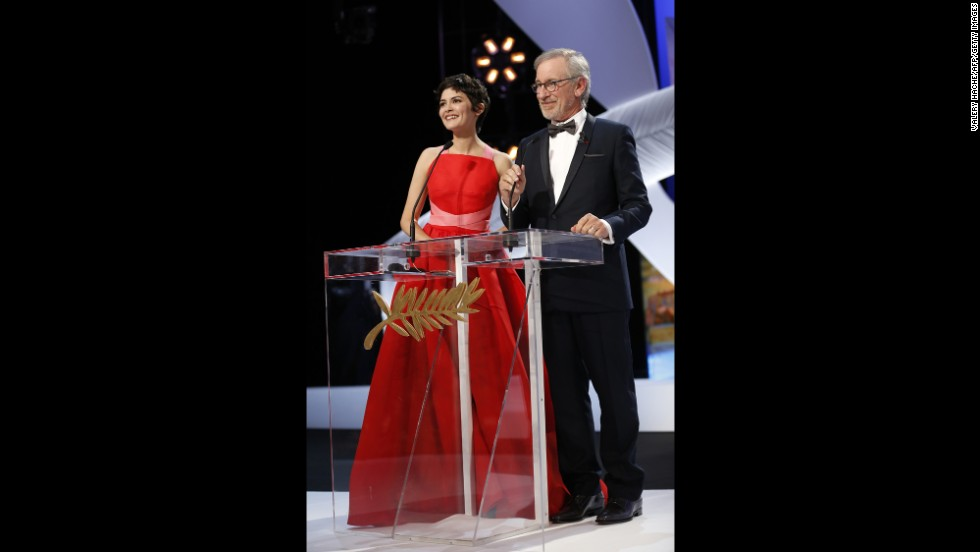 French actress Audrey Tautou appears on stage with director Steven Spielberg on May 26.
