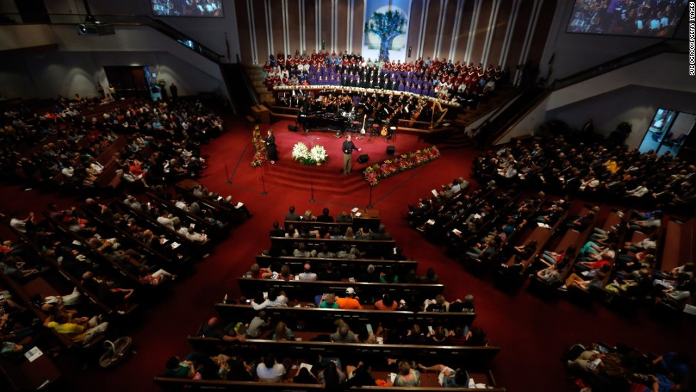 Residents gather in the First Baptist Church for the Oklahoma Strong memorial service on Sunday, May 26, to honor victims of the recent deadly tornado in Moore, Oklahoma.