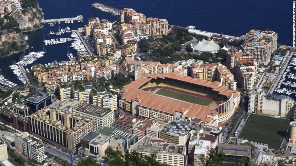 Monaco's Stade Louis II is located in the idyllic French Riviera on the Mediterranean coast. As a commercial center, the city-state has come to attract the rich and wealthy.