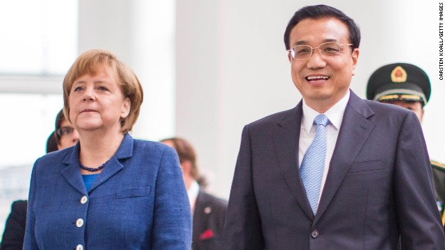 German Chancellor Angela Merkel meets Chinese Prime Minister Li Keqiang  during his first official visit to Germany.