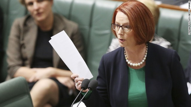 Prime Minister Julia Gillard talks during House of Representatives question time on May 28, 2013 in Canberra, Australia.