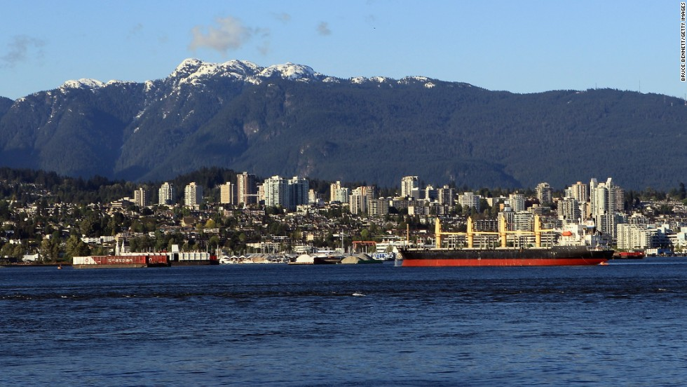 A scenic view of West Vancouver from Stanley Park in Vancouver, British Columbia.