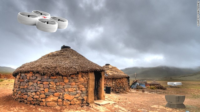 A mock up of a Mattenet drone delivering medical supplies to a rural location.