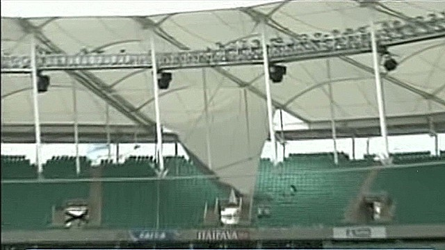 Why did soccer stadium roof collapse?