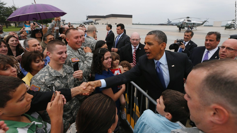 Obama greets the crowd upon his arrival at McGuire Air Force Base in New Jersey on May 28.