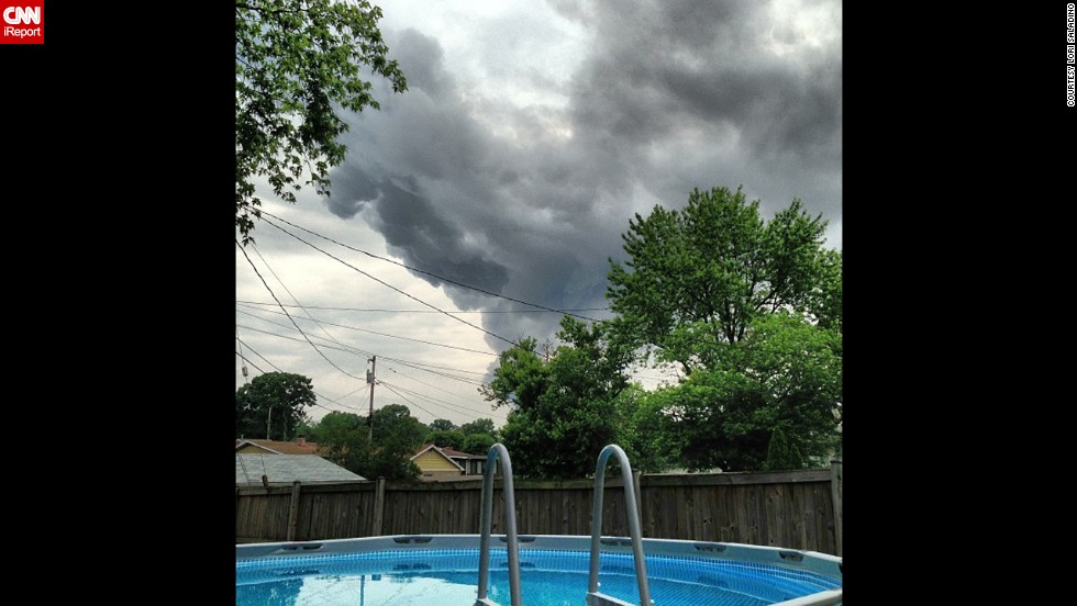 CNN iReporter Lori Saladino took this photo of the large plume of smoke caused by the explosion filling the sky.