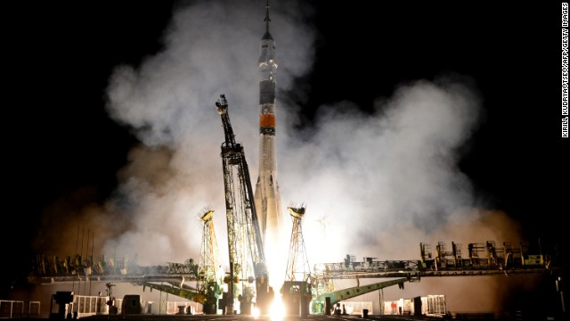 Russia's Soyuz TMA-09M spacecraft blasts off from the Russian leased Kazakh Baikonur cosmodrome early on May 29, 2013. A Russian rocket carrying an international crew of US astronaut Karen Nyberg, Russian cosmonaut Fyodor Yurchikhin and European Space Agency (ESA) Italian astronaut Luca Parmitano blasted off today to the International Space Station (ISS).