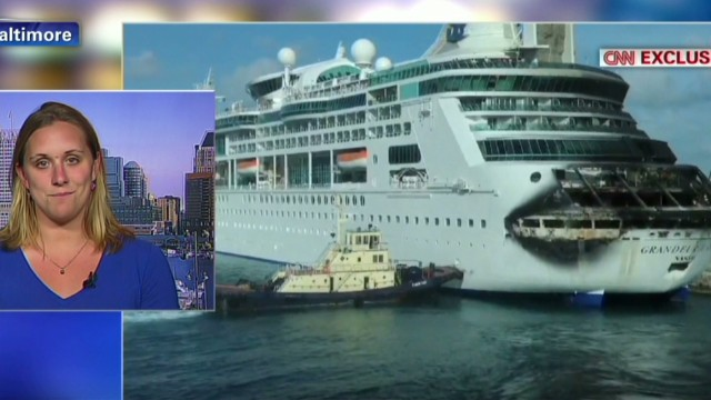 Cruise passenger: Water glowed from fire