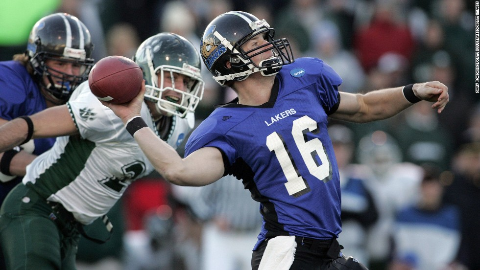 Finnerty, then a quarterback for Grand Valley State, passes against Northwest Missouri State in the NCAA Division II championship game in Florence, Alabama, in December 2005. Finnerty compiled a 36-4 record at Grand Valley State, winning national championships in three seasons.