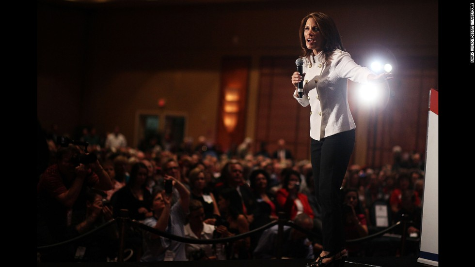 Bachmann speaks at a September 2011 rally in Orlando sponsored by the Faith and Freedom Coalition before a GOP presidential debate.