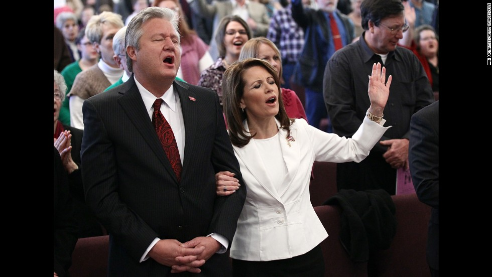 Bachmann and her husband, Marcus, join in the services at the Jubilee Family Church in Oskaloosa, Iowa, in January 2012 as the then-GOP presidential candidate made a final push before the Iowa caucuses.