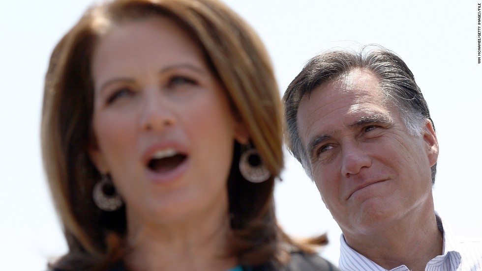 Bachmann endorses Mitt Romney at a May 2012 campaign event in Portsmouth, Virginia. Bachmann ran against Romney for the GOP presidential nomination before dropping out after the Iowa caucuses.