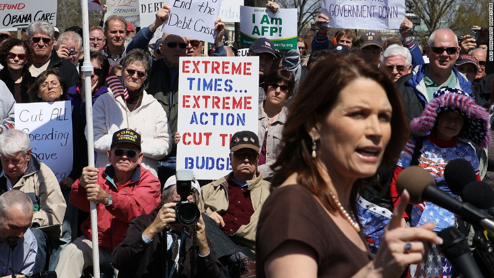 Bachmann addresses an April 2011 rally on Capitol Hill in support of spending cuts.