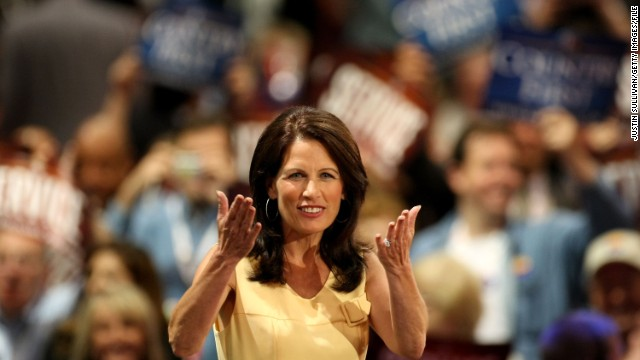 ST. PAUL, MN - SEPTEMBER 02:  U.S. Rep. Michele Bachmann (R-MN) reacts to the crowd on day two of the Republican National Convention (RNC) at the Xcel Energy Center on September 2, 2008 in St. Paul, Minnesota. The GOP will nominate U.S. Sen. John McCain (R-AZ) as the Republican choice for U.S. President on the last day of the convention.  (Photo by Justin Sullivan/Getty Images)