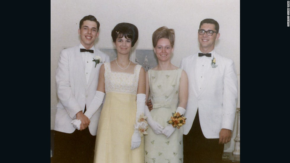 "1966: <a href=""http://ireport.cnn.com/docs/DOC-605614"">Susan Train</a> says: ""The senior prom was a really big deal after four years of Catholic school uniforms; it was our night to shine.  The hairstyles were up, the flowers were especially picked to go with the gowns and the white dinner jackets -- everyone was so beautiful and handsome that night. We wore white gloves and matching shoes -- every detail was thought out and selected for this special evening."""