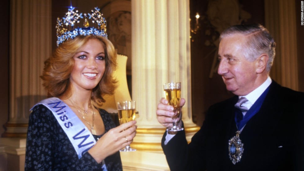 Gabriella Brum resigned within a day of winning the Miss World crown in 1980, saying her boyfriend was unhappy that they'd be separated by her beauty queen duties. She had entered the pageant as Miss Germany. Pictured, the 18-year-old enjoys a champagne breakfast at the Mansion House with the Lord Mayor of London Sir Ronald Gardner-Thorp.