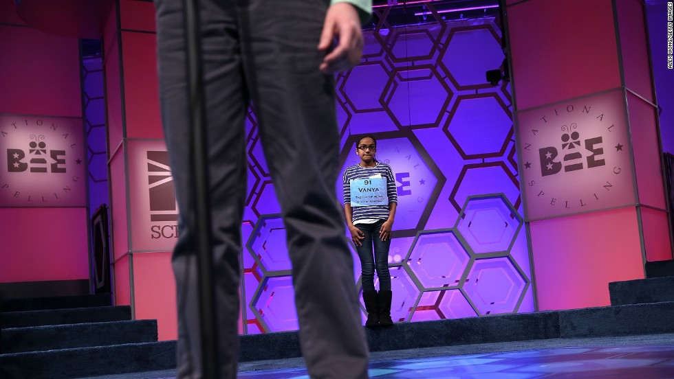 "Vanya Shivashankar of Olathe, Kansas, younger sister of <a href=""http://www.cnn.com/2013/05/29/living/gallery/spelling-bee-champions/index.html"" target=""_blank"">2009 Bee champion Kavya Shivashankar</a>, waits her turn on May 29. Shivashankar later spelled ""intaglio,"" a figure or design created as an impression below the surface level of stone or similar material."