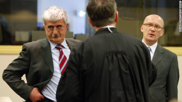 (File) Bruno Stojic, left, and Jadranko Prlic appear at the War Crimes Tribunal in The Hague, Netherlands, in 2004.