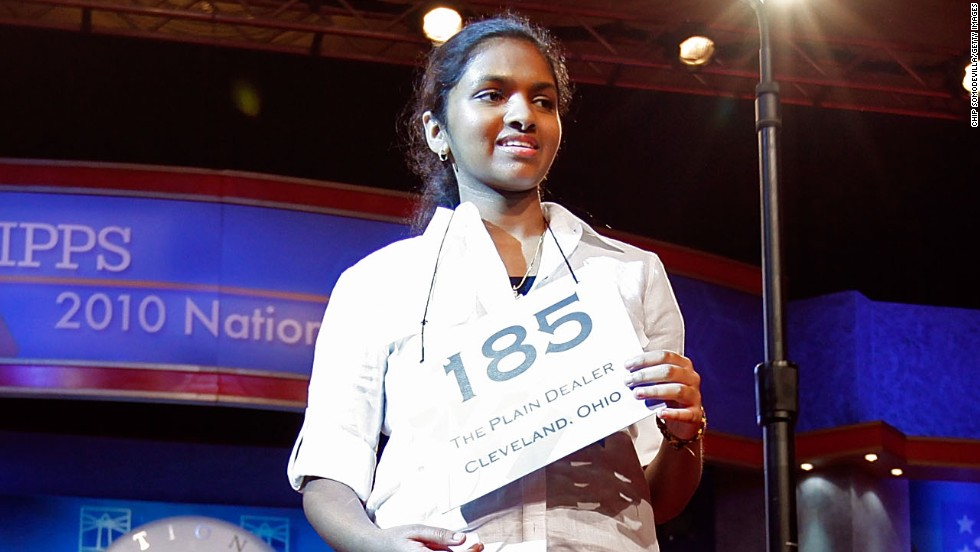 "Anamika Veeramani won in 2010 with the word ""stromuhr,"" which is an instrument that measures the amount and speed of blood flow through an artery."