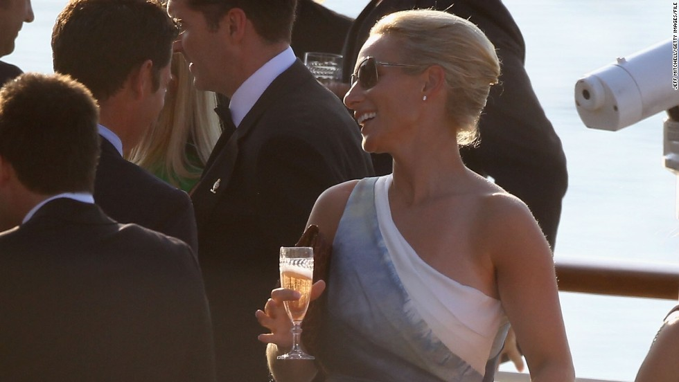 """Four royal honeymoons have taken place on the """"HMY Britannia"""", but Queen Elizabeth II's granddaughter Zara Phillips (pictured) was instead happy to soak up the sunshine on board during a pre-wedding bash to Rugby player Mike Tindall in 2011."""