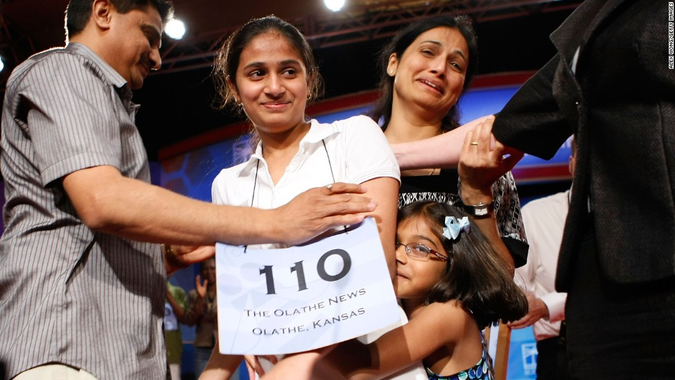 """Kavya Shivashankar won in 2009 when she correctly spelled """"laodicean,"""" which means lukewarm or indifferent, particularly in matters of politics or religion."""