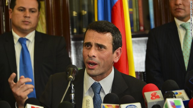 Venezuela's opposition leader Henrique Capriles talks during a joint press conference at the Colombian Congress in Bogota on May 29, 2013.