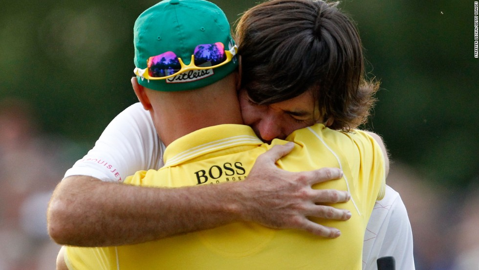 Bubba Watson, the 2012 U.S. Masters champion, embraced fellow Bible group member Ben Crane after winning at Augusta. Both men have been an integral part of the fellowship which meets weekly on Tour.