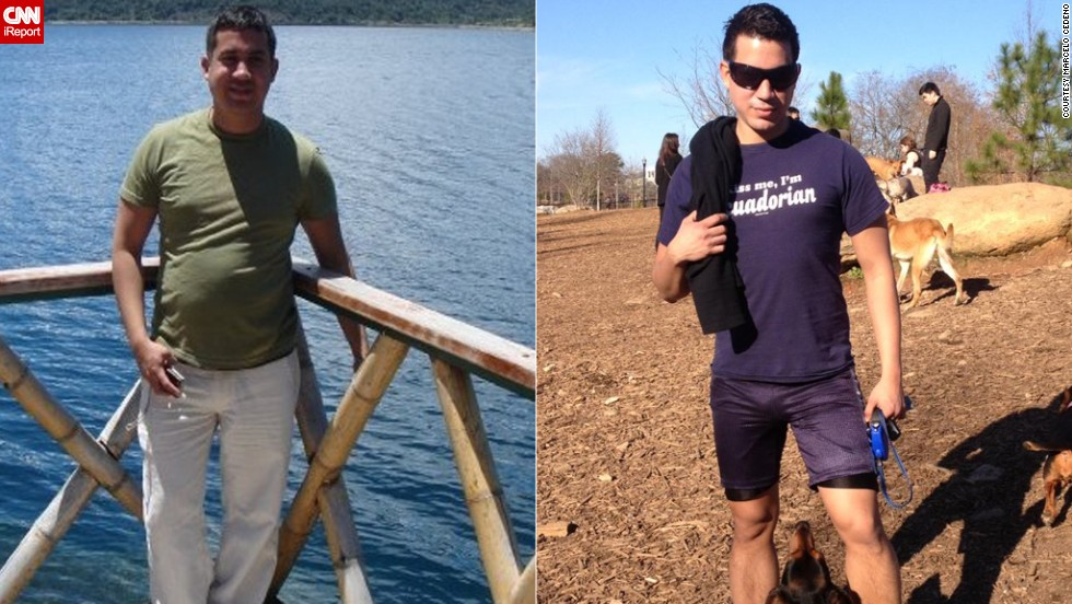 "Marcelo Cedeno <a href=""http://ireport.cnn.com/docs/DOC-967649"">lost more than 50 pounds</a> after a friend told him he was ""unconciously hurting himself"" with his unhealthy eating habits. Cedeno started working out for an hour a day and made smarter food choices to drop the weight."