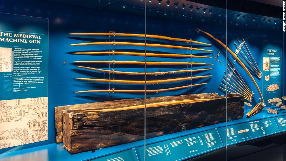 More than 130 medieval longbows have been recovered from the<em> </em>Mary Rose. These are the only ones in existence from the time and their length demonstrates that an archer could pull more than twice as much weight as was previously thought possible.