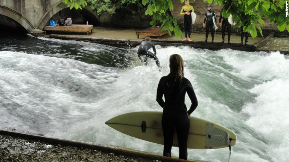"""River surfing is more difficult than any other type of surfing. You've got to surf in place, on a """"stationary"""" wave, trying to keep your balance as water churns beneath you."""