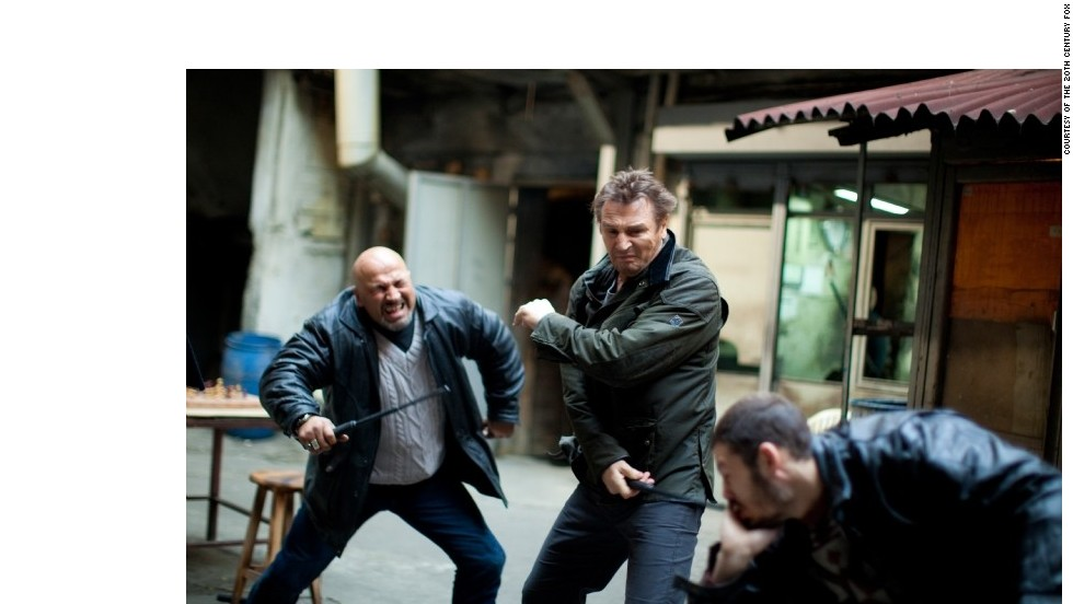 """If the star is surrounded by a group of bad guys, he or she will always take them down. Don't even worry about it. Here, Liam Neeson stars as Bryan Mills in """"Taken 2,"""" in which he demolishes a group of bad guys."""