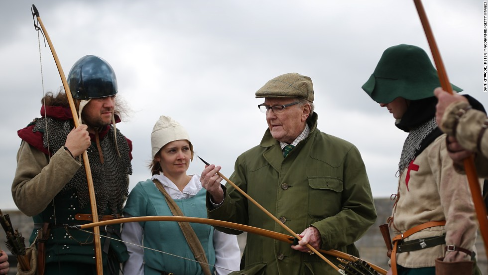 Actor and longbow expert Robert Hardy talks with Purbrook Bowmen at Southsea Castle as part of a day of events to mark the opening of the Mary Rose Museum in Portsmouth.