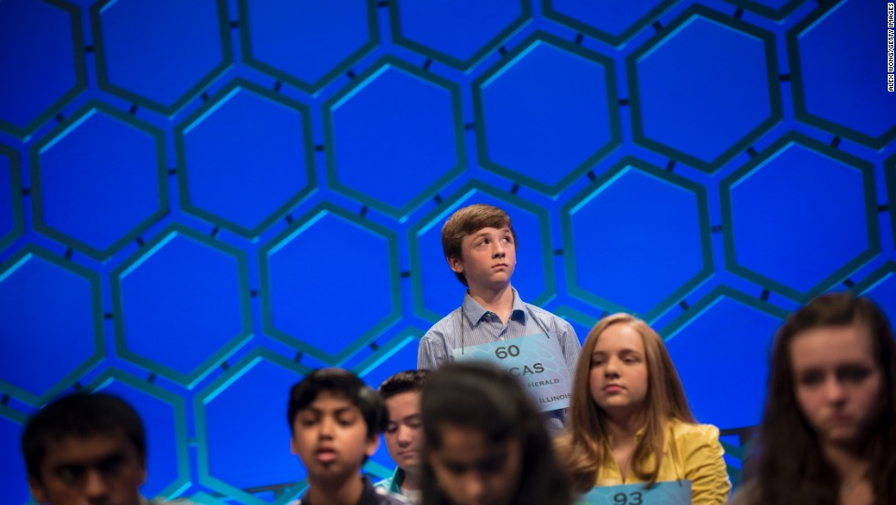 "Lucas Michael Urbanski, from Illinois, waits to compete during the semifinals on Thursday, May 30. Urbanski spelled ""parvanimity,"" the state of having a little or ignoble mind, in round five."