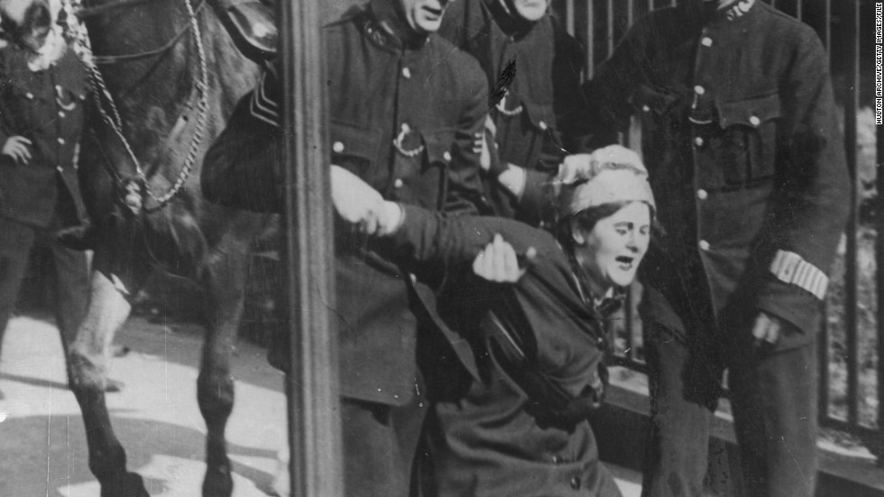 "The activists used militant protest methods, such as chaining themselves to railings and smashing windows. Historians are divided on their success, with Tanner arguing: ""Unfortunately for the legacy of Emily Davison, World War One broke out a year later, in 1914, and the Suffragettes believed it would have appeared unpatriotic to continue the struggle while the country was at war."""