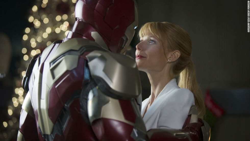 "The hero always gets the girl -- if she survives until the end. Robert Downey Jr. as Iron Man and Gwyneth Paltrow as Pepper Potts in ""Iron Man 3"" prove that point."