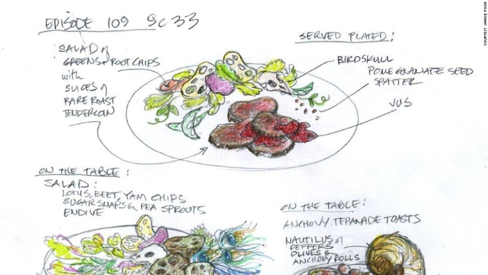 Poon starts with sketches and then carefully sources, cooks and styles each plate.