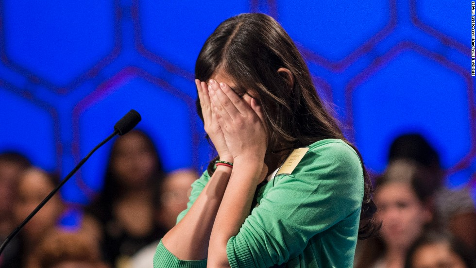 "Vismaya J. Kharkar, representing Utah, was eliminated from the championship round on May 30, after mispelling ""paryphodrome,"" which describes leaf venation that has a vein that closely follows the margin."