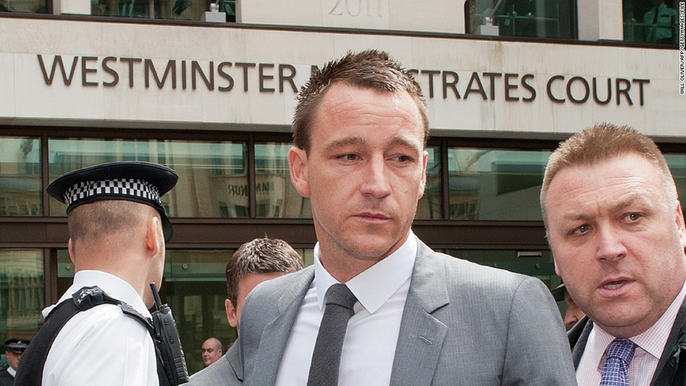 "Former England captain John Terry was found not guilty in a criminal court of racially abusing rival footballer Anton Ferdinand but was banned for four-matches by the Football Association. He accepted the charge, a £220,000 fine and apologized, saying: ""I accept that the language I used, regardless of the context, is not acceptable on the football field or indeed in any walk of life."""