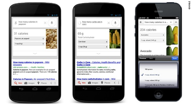 The Google nutrition search results are also available on mobile devices.