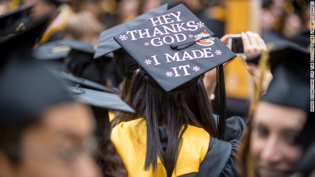 FRAMINGHAM - MAY 19: Christina Gibbs, 22, a Food and Nutrition major, wore a decorated cap at Framingham State University's commencement ceremony on May 19, 2013. (Photo by Aram Boghosian for The Boston Globe via Getty Images)