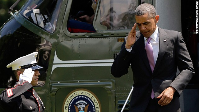 WASHINGTON, DC - MAY 30:  U.S. President Barack Obama salutes as he returns to the White House following a trip to Chicago May 30, 2013 in Washington, DC. According to reports, the Secret Service said that a letter addressed to Obama, that was similar to the ricin laced letter sent to New York City Mayor Michael Bloomberg, was intercepted by a White House mail screening facility. The letter has been turned over to the FBI for testing.  (Photo by Win McNamee/Getty Images)